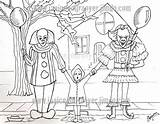 Coloring Stephen King Scary Pennywise Clown Printable Clowns Horror Balloon sketch template