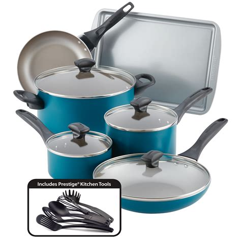 cookware farberware teal nonstick safe dishwasher piece pans pots walmart sets traditions speckled aluminum amazon