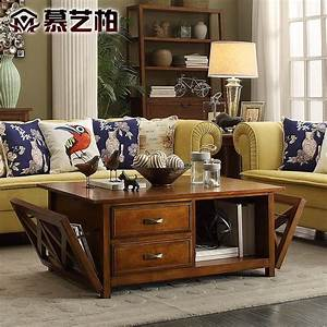 American, Country, Style, Wood, Coffee, Table, Multifunctional, Furniture, Living, Room, Tea, With, Drawer