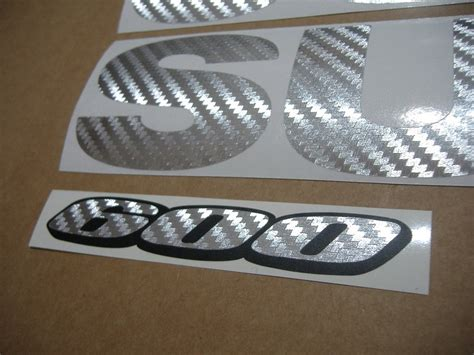 suzuki gsx   silver carbon fiber  logo decal