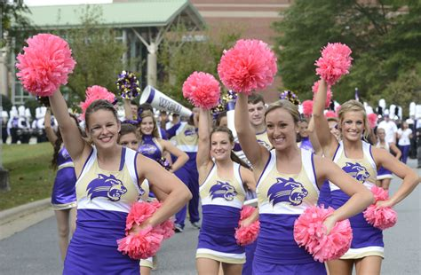 Catamount Cheerleaders With Their Pink Pom Poms