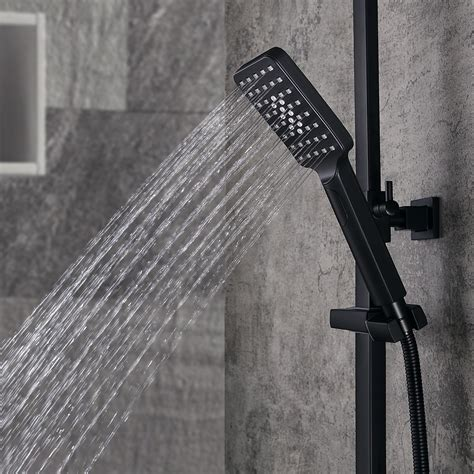 modern exposed thermostatic shower faucet matte black