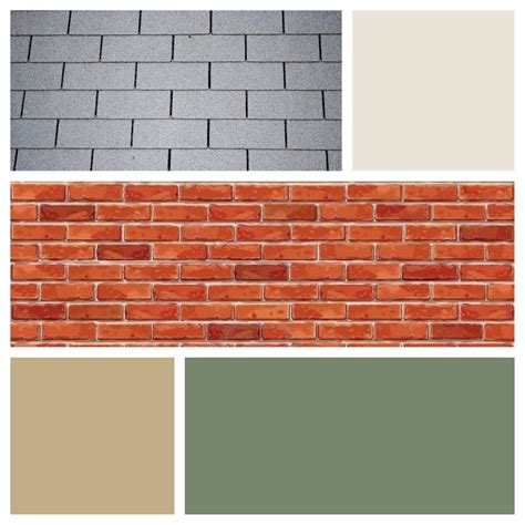 exterior color scheme for red brick and gray roof moss