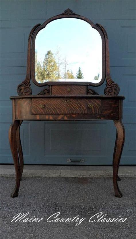 Tiger Oak Dresser Beveled Mirror by Antique Quartersawn Tiger Oak Vanity With Beveled Mirror