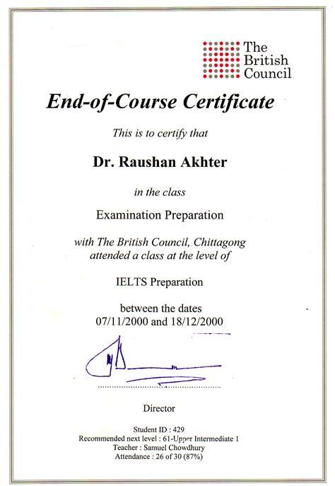 certificate courses language ielts coarse certificate