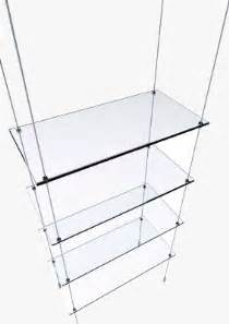 Red Wire In Ceiling by Suspended Glass Display Shelves