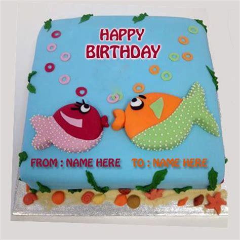 write   kissing fish birthday cake