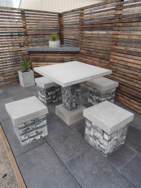 outdoor decor trend  concrete furniture pieces