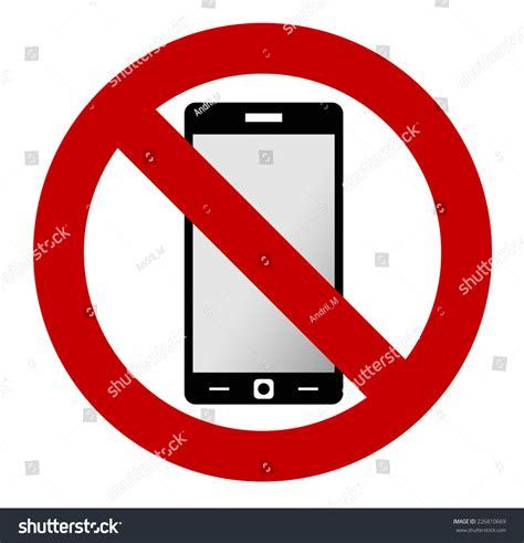 sign in mobile phone no mobile phone allowed sign turn stock vector 226810669