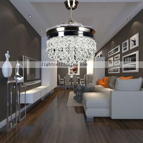 retractable crystal led ceiling fan  remote