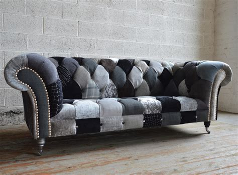 tufted loveseat gray chester patchwork chesterfield sofa abode sofas