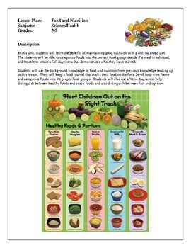 health lesson plans food  nutrition   maintain
