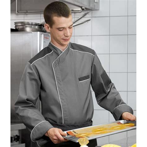 veste cuisine couleur veste de cuisine col officier couleur gris bouton pression