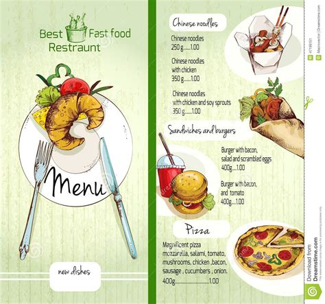 cuisine menu list fast food menu stock vector image of breakfast dishes