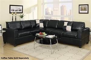 poundex playa f7630 black leather sectional sofa steal a With black sectional sofa