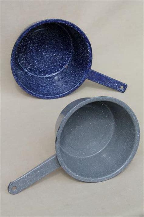 vintage graniteware enamel sauce pans  metal camp