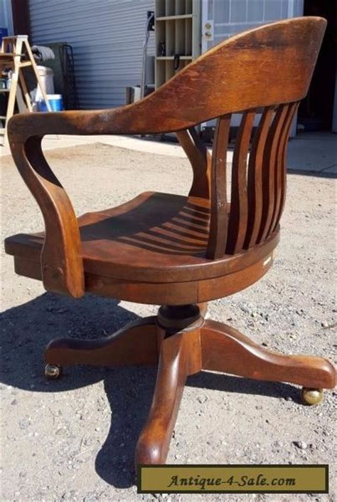 vintage wood bankers chair antique solid oak wood swivel chair bankers barrel office