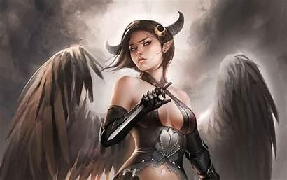 Devil Angel Demon Wallpapers Dark Woman Getwallpapers