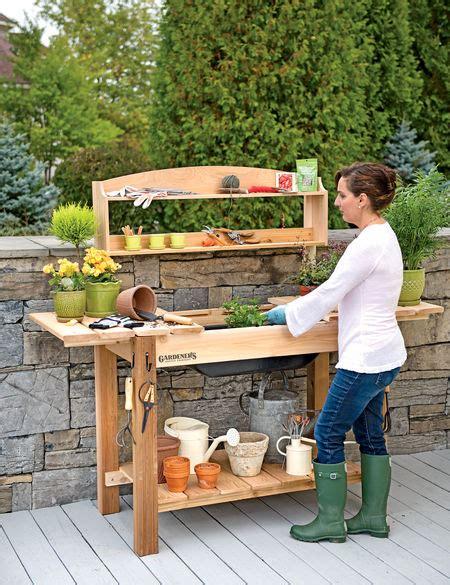 potting bench cedar potting table  soil sink  shelves