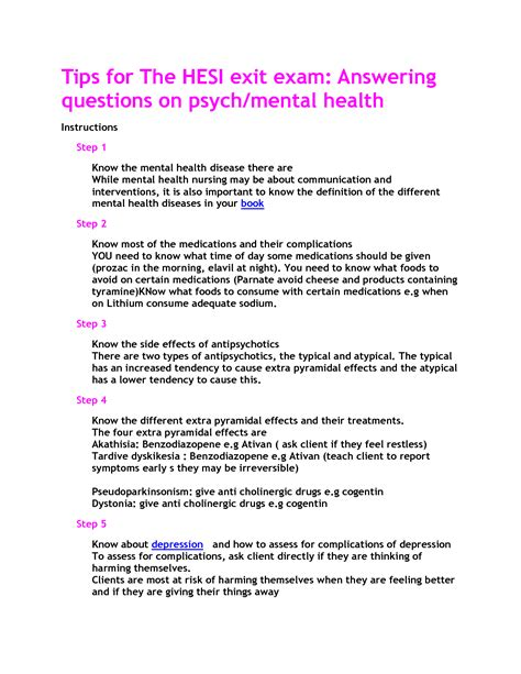 Questions And Answers For Mental Health Nurses by Mental Health Hesi Study Guide Nursing Mental Health