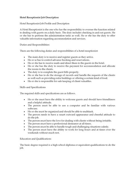 Hotel Receptionist Resume Description by Hotel Receptionist Description Receptionist Description Resume Sle