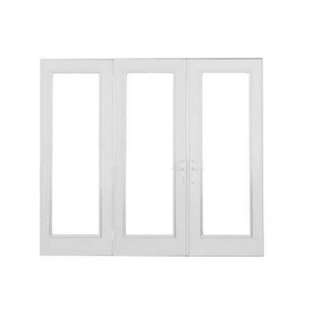 simonton patio doors home depot simonton white 3 panel inswing lumera hinged patio door