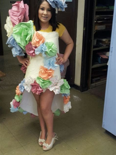 My daughteru0026#39;s school project - to make an outfit for their Trash Fashion Runway show. Completely ...