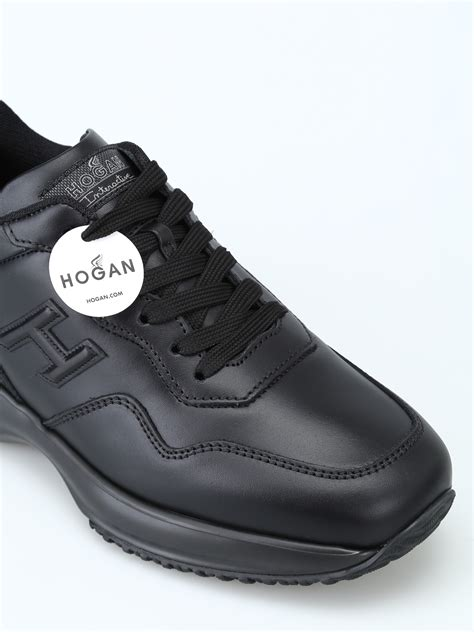 hogan interactive black leather   sneakers trainers hxmnuklab