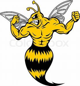 Powerful and danger yellow jacket in mascot style | Stock ...
