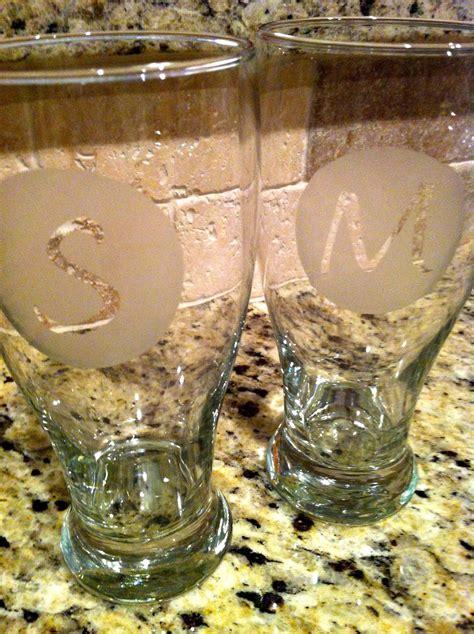 life   pinterest diy etched monogram glasses