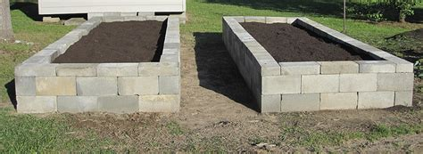 concrete block planters and raised beds improvised