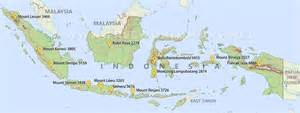 Indonesia peaks - map showing the highest peaks and mountains in ... Indonesia