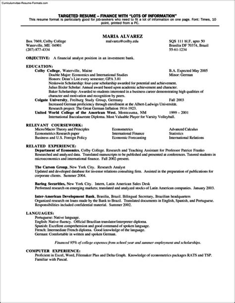 Targeted Resume Template by Targeted Resume Templates Free Sles Exles