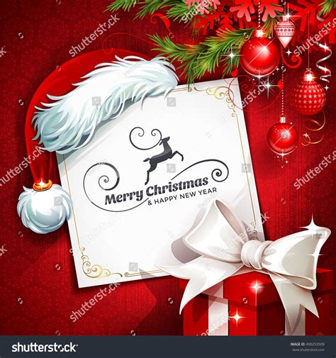 christmas cards shutterstock vector vintage greeting card santa stock vector 490253509