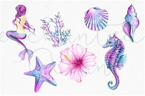 mermaid clipart watercolor sea underwater illustration starfish siren seashell seahorse diy pack
