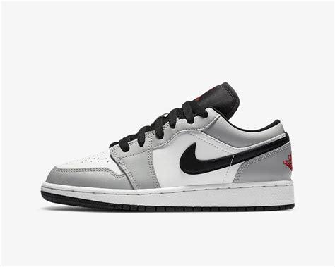 Air Jordan 1 Low Gs Light Smoke Grey Gym Red White 553560