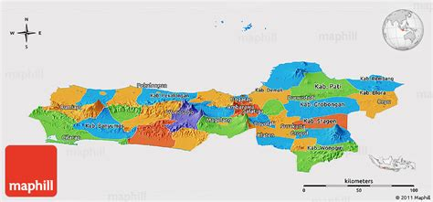 political panoramic map  central java cropped