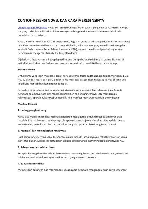 format resume buku yang baik contoh resume novel resume ideas