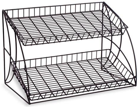 black countertop wire metal rack  shelving tiers