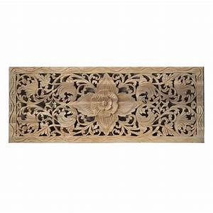Flower wood carving wall panel from thailand siam sawadee