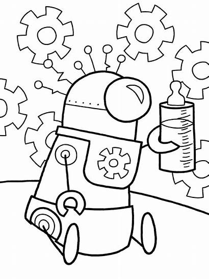 Robot Coloring Pages Robots Theme October Colouring