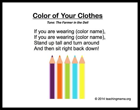 10 preschool songs about colors 578 | Color of Your Clothes 1024x800
