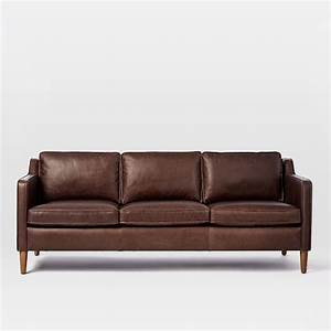 Hamilton leather sofa 81quot west elm for Sectional sofa bed hamilton