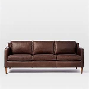 Hamilton leather sofa 81quot west elm for Sectional sofa bed hamilton