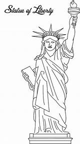 Liberty Statue Coloring Drawing Template Templates Sketch sketch template