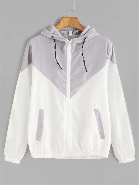 cat hooded jacket contrast zip up drawstring hooded jacketfor romwe