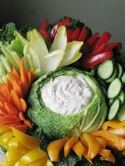 cabbage bowl  hold vegetable dip   vegetable appetizer  party ideas