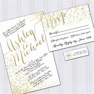 Confetti wedding invitations gold foil look invites for Wedding invitations online on a budget