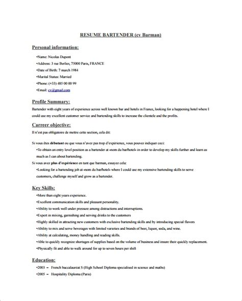 bartender resume sle experience 6 downloads