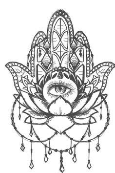 "Hand Drawn Adult Coloring Page Print - ""Hamsa Eye"
